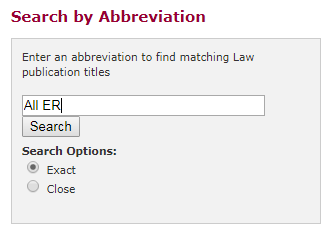 Search by abbreviation