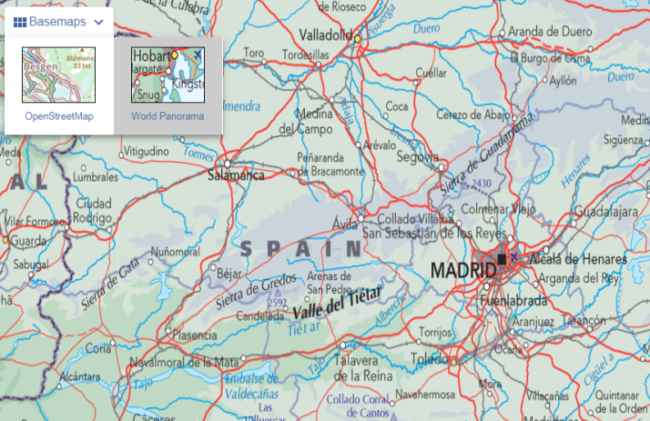 Map of Madrid, Spain.